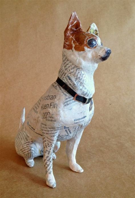 chihuahua unique whimsical paper mache dog sculpture