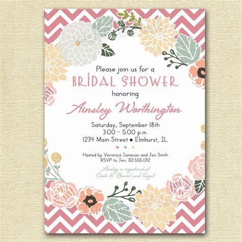 vintage flower wreath and pink chevron bridal shower