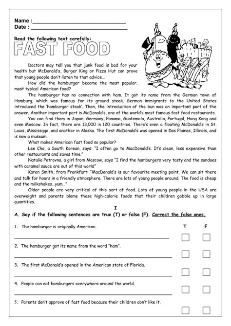 fast food reading worksheet ii