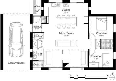 Plan Maison 2 Chambres - plan maison 80 m avec 2 chambres ooreka