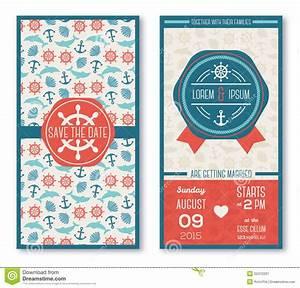 set of romantic wedding invitations in marine stock vector With wedding invitation marine design