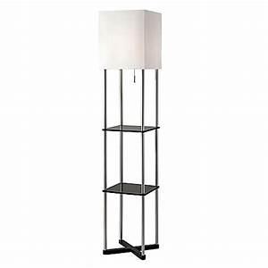 buy adessor harrison shelf floor lamp in brushed steel With shelf floor lamp bed bath and beyond