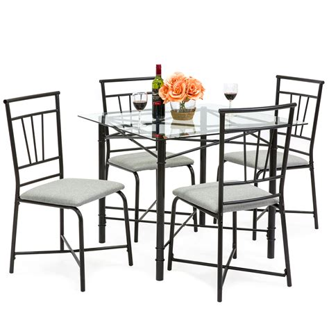 choice products  piece square glass dining table set