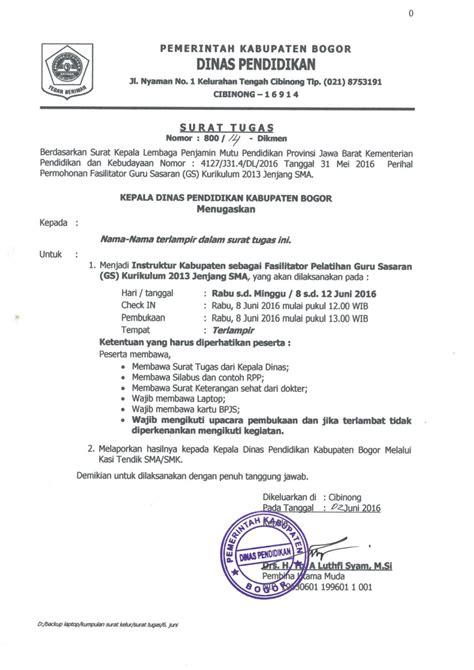 Contoh Surat Tugas Kedinasan by Surat Tugas Instruktur Kabupaten Sebagai Fasilitator