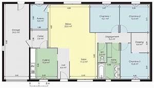 Maison 120m2 Plain Pied : l gant exemple plan maison modele plain pied gratuit co 120m2 3 chambres 5 lzzy 14 plein pieds ~ Melissatoandfro.com Idées de Décoration