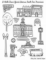 Coloring San Francisco Printable Grand South Neighborhood Walk Avenue Wanderlust sketch template