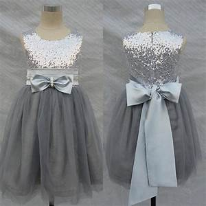 Bling bling flowers girl dresses wedding silver grey for Gray dresses for wedding