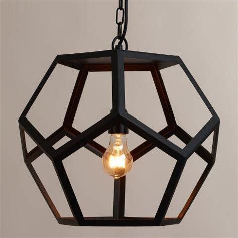 black metal hexagon pendant l world market