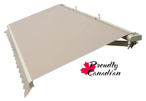 rolltec  ft manual retractable patio awning  ft projection  solid beige  home