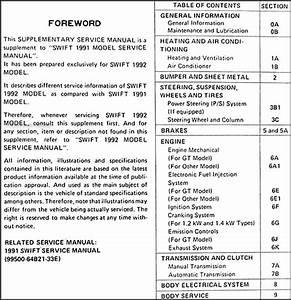 1992 Suzuki Swift 1300 Repair Shop Manual Supplement Original