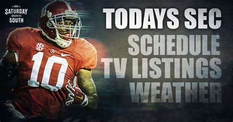 Today's SEC schedule, TV listings & weather forecasts