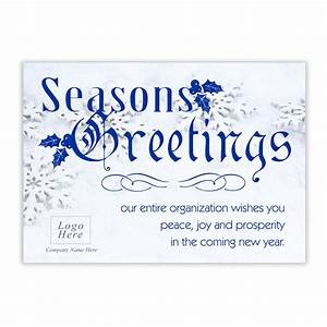 Snowflake seasons greeting corporate holiday card for Greeting cards for business use