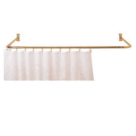 shower curtain rod bright solid brass 3 sided