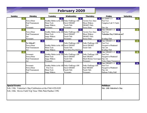 event schedule template excel monthly