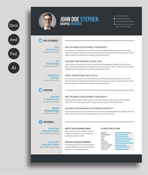 free ms word resume and cv template collateral design