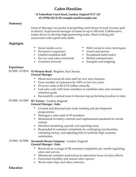 A Sle Of Cv by Sales Cv Templates Cv Sles Exles