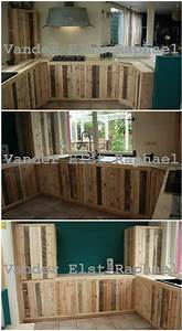 kitchen makeover with recycled pallets o 1001 pallets With best brand of paint for kitchen cabinets with home made candle holders