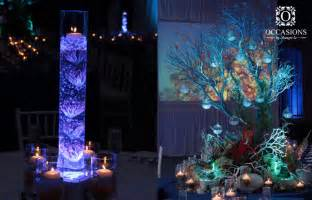 table centerpiece underwater themed decor underwater themed event