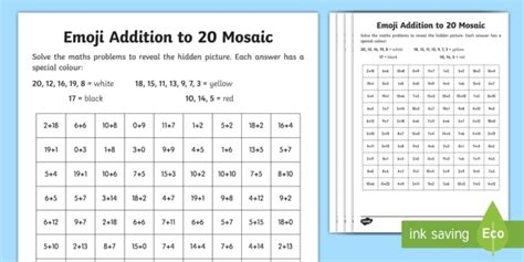 emoji addition to 20 mosaic worksheet worksheets addition subtraction