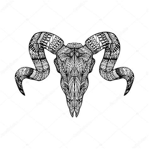 Fondo: carnero Zentangle cabeza de cráneo de carnero