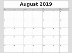 August 2019 Monthly Calendar Printable