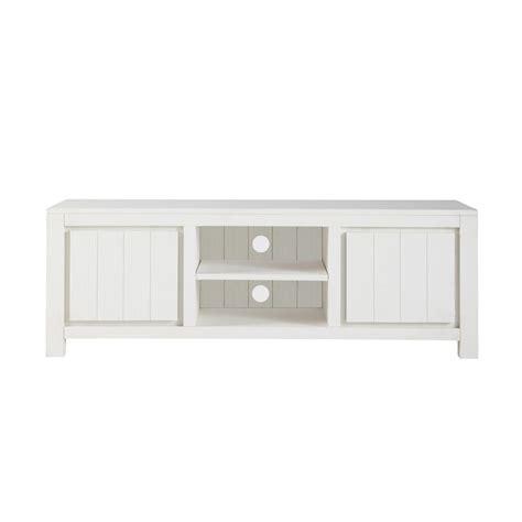 meuble tv blanc et bois meuble tv en bois massif blanc l 145 cm white maisons du monde