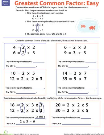 greatest common factor easy worksheets factors and math