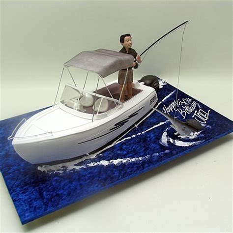Man In Fishing Boat Cake Topper by Fishing Man On A Boat Cake Boats Ships Sea 3d Cakes