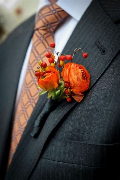 fall wedding boutonnieres   groom page