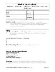 pdsa worksheet 2016pdsa worksheet template pdsa worksheet plan do study act plan do study act plan do study