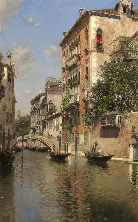 19th Century Painting Of A Venetian Canal By Martin Rico Y