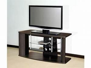meuble tv en mdf et etageres en verre trempe coloris wenge With meuble tv wenge et verre