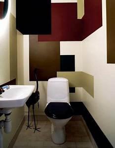 deco wc carres de peinture couleur marron rouge pieces With quelle couleur dans les wc 3 conseil deco salle de bain et toilette