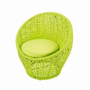 Fauteuil de jardin en resine tressee vert anis durban for Petit fauteuil vert