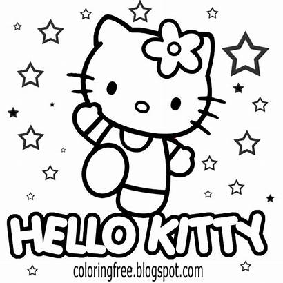 Coloring Pages Drawing Kitty Hello Cartoon Printable