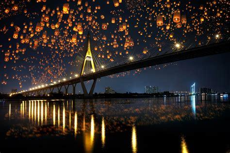 landscape bridge night sky lanterns reflection