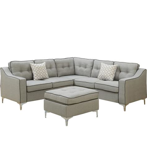 Light Gray Sectional Sofa by Venetian Worldwide Palermo 4 Light Gray Sectional