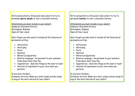 persuasive writing activity cards adverts