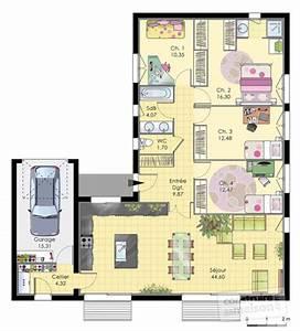 maison de plainpied detail du plan de maison de With plan maison en l 100m2 3 maison moderne et economique detail du plan de maison