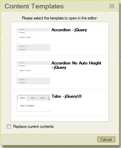tinymce content templates creating content templates mojoportal