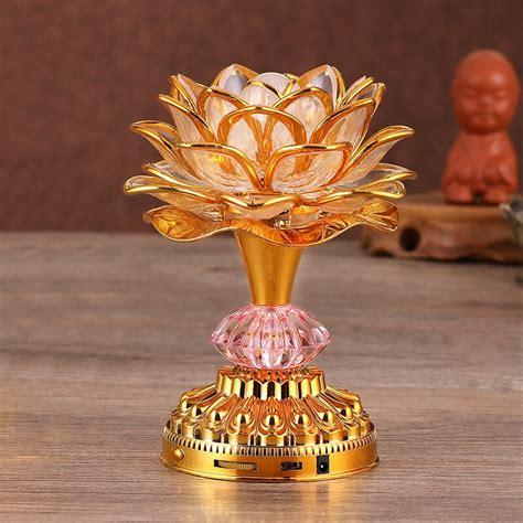 lotus flower lights buddha bright lamp led colorful light