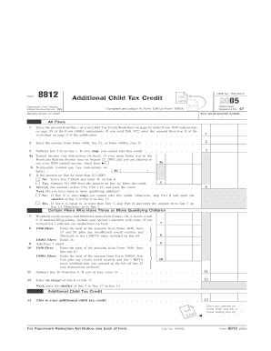 irs 2005 form 8812 fill online printable fillable