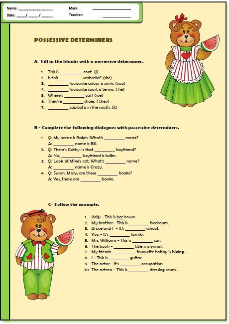 possessive determiners worksheet