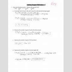 Limiting Reagent Worksheets #12  Limiting Reagent Worksheet#1 1 Given The Following Reaction