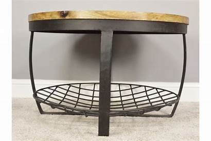 Coffee Table Round Rustic Metal Wooden