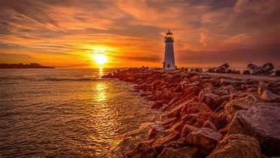 Sunrise 4k Lighthouse Sunset Wallpapers Resolution Backgrounds