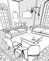 Drawing Sketches Coloring Sketch Adult Colouring Perspective sketch template