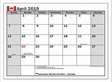 Calendar April 2019, Canada Michel Zbinden en