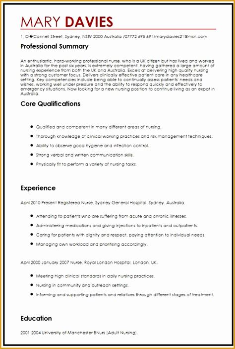 Nursing Cv by 9 Sle Nursing Curriculum Vitae Templates Free Sles