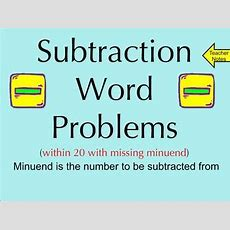 Subtraction Word Problems Within 20 With Missing Minuend Smartboard